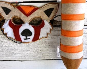 Red Panda Costume - Felt Animal Mask, Tail, & Vest - Wool or Eco Felt