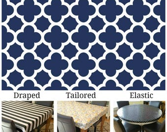 """LAST ONE laminated cotton aka oilcloth heavyweight 48"""" x 90"""" finished size draped tablecloth, Navy and ivory quatrefoil"""