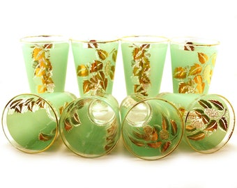 Mid Century Drinking Glasses Set of 8 Frosted Green Glass and Gold Grape Leaf Pattern