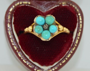 Victorian 14K Locket Turquoise & Rose Cut Diamond Memorium Ring
