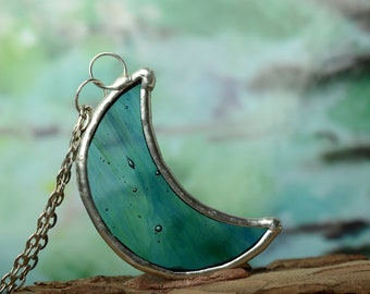 crescent moon pendant, tin stained glass necklace, unique gift, minimalist celestial jewelry, wearable art