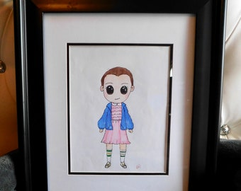 Hand drawn colored pencil drawing of eleven/stranger things