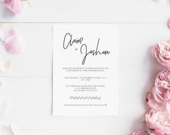 Wedding invitations set printable - Wedding invitation minimal - Printable wedding invites set - Digital invitations - minimalistic invites
