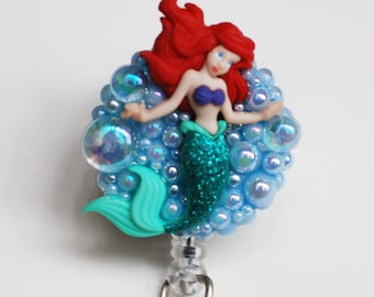 Sweet Little Mermaid ID Badge Reel - Retractable ID Badge Holder -Zipperedheart