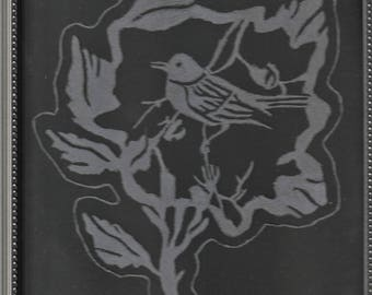 Etched Glass of a bird in a leaf with leaf trim