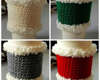 Christmas Hand Crochet Coffee Cup Holder/  Mug Warmer/Sleeve/ Cup Cozy Choose from 4 Colors