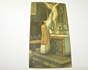 Catholic HOLY CARD BOOKMARK, Jesus, Altar Scene, Priest and Crucified Christ