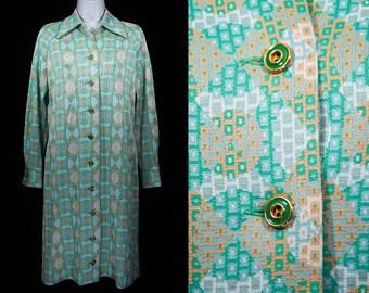 Vintage 60's KIMBERLY Green & Orange Geometric Pattern Coat/Dress S
