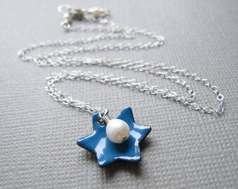 Cobalt Blue Jewish Star of David Necklace Enamel White Pearl Sterling Silver