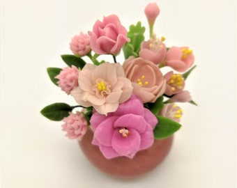 Romantic Roses Handmade Miniature Polymer Clay Art Flowers for Dollhouse and Wedding Gifts