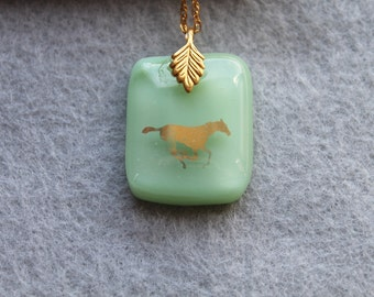Fused glass horse necklace