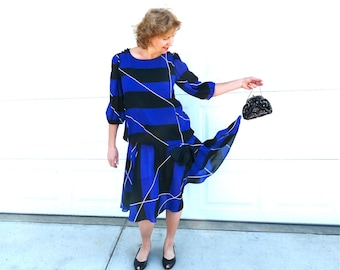 Vintage 60s Flapper dress I. Magnin Bow Blue Black Striped Silk Slouchy Party does 20s Large