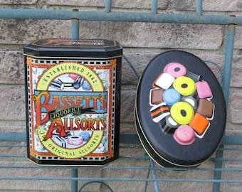 Vintage Advertising Tins - 2 Liquorice Allsorts Tins, Bassett's Tin 1992, Marks & Spencers Tin 1993, Collectible Storage Tin, Kitchen Decor