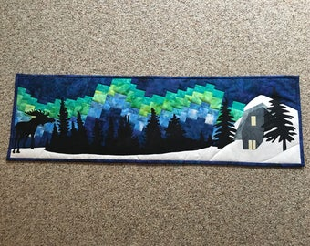 Northern Lights Tablerunner or mini quilt or wall hanging