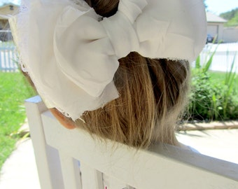 White Bow / Ivory Bow / White Lace Bow / White Chiffon Bow / White and Ivory Bow / Bow Hair Clip / Christening / Wedding