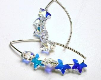 Swarovski Crystal Star Earrings AB Pastel Rainbow Stacked Shooting Star Sterling Silver Celestial Night Sky  Women's Constellation Jewelry