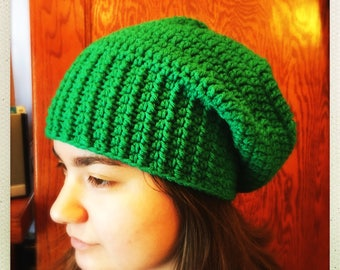 Crocheted Kelly Green Slouchy Hat