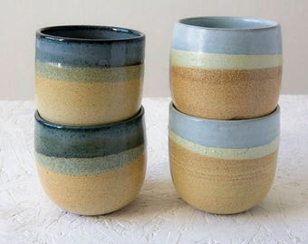 Pottery Tumbler, Rustic Cup, Ceramic Cup, Water Tumbler, Ceramic Art, Stoneware Tumbler, Handless Cup, Coffee lover's Gift