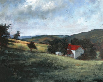 Sleepy Hollow . giclee art print of farm house with red roof