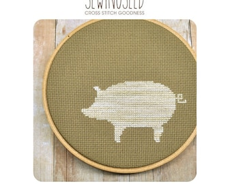 Pig Silhouette Cross Stitch Pattern Instant Download