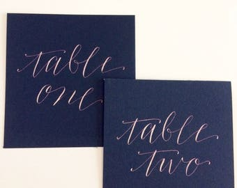 Calligraphy Table Numbers - Wedding Table Numbers - Table Number Cards - Custom Calligraphy for Wedding - Wedding Reception Table Numbers