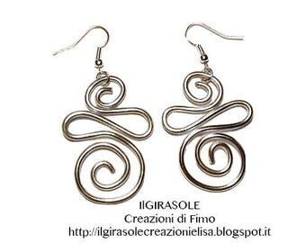 Earrings silver spiral wire pendants