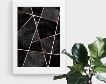 Black Rose Gold Geometric Print, Print Art, Geometric Art, Abstract Art, Scandinavian Print, Minimalist Art, Digital Art, Printable Art