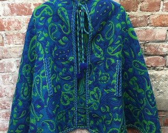 Vintage 60s 70s Boho Paisley Cape Coat Hudson's Bay Company Green Blue Paisley & Pom Poms Made in Spain