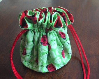 Handmade Adorable Polka Dot Ladybug Jewelry Tote