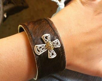 Cowhide Cross bracelet