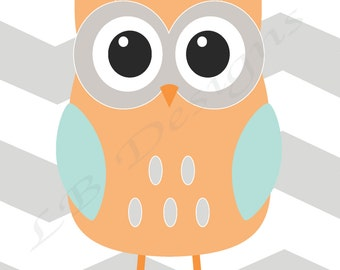 Owl Nursery Print, Woodland Nursery Decor, Aqua and Gray Nursery, Boy Woodland Bedroom, Playroom Decor, Owl Print, Woodland Print - 8x10