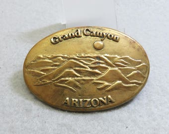 Cast Brass Grand Canyon Belt Buckle, Vintage Arizona Belt Buckle