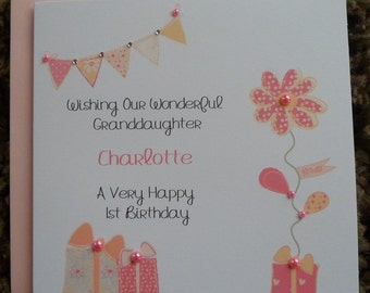 Handmade Personalised Birthday Card VINTAGE BUNTING DESIGN Any Age