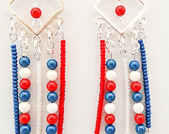 4TH OF JULY earrings, Memorial Day, Flag Day, red white blue earrings, patriotic earrings, patriotic jewelry, red white blue - 0780