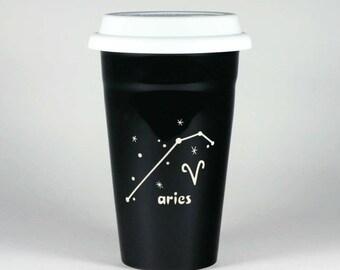 Aries Zodiac Travel Mug - Black insulated ceramic coffee cup w/ lid