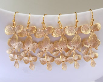 Bridesmaids Jewelry, Wedding Jewelry, Orchid Flower, Gold Earrings, Bridesmaids Earrings, Bridesmaids Gifts, Dangle, Long, Wedding Gifts