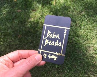 Black Gold Business Cards with Silk Laminate, Gold Foil, Photographer, Microblading, Brows, Lash, Jewelry Business Cards