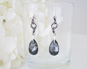 Teardrop earrings, Swarovski grey crystal long dangle earring, Dark gray crystal and pewter earring