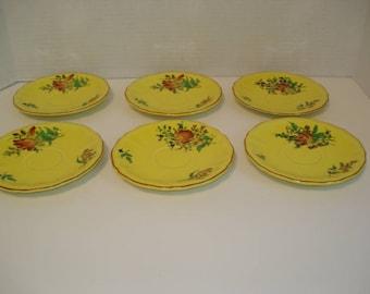 Vintage set of 6 Faience saucer plates