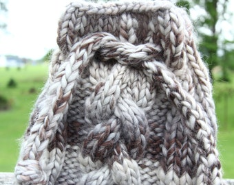 gray braided cable crystal bag