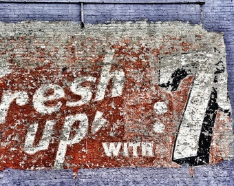 Kitchen Art, Old Sign Photography, Rustic Modern Wall Decor, 7up Sign Photo