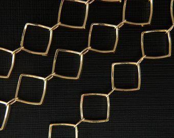 Handmade chain w/ rhombus rings, Nickel free, CJ12-04, 1m, Inner size of a rhombus ring, 16K gold plated brass, GBS1171A