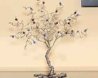 Mothers Day Gift Family Tree Birthstone Keepsake Sculpture Swarovski Crystal Mother Gift Grandmother Gift Wire Tree Sculpture Gemstone Tree