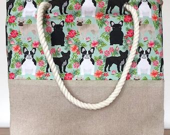 French Bulldog dog print beach bag