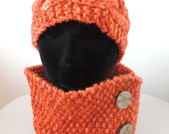 Hand Knit, Cable Headband and Cowl, Neck Warmer, Snood