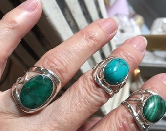Rings Awesome Sterling Silver open Rings with Rhodonite,Chalcedony,Raw Emerald  ,Quartz,Malachite ,Moonstone, Lapis, Adjustable