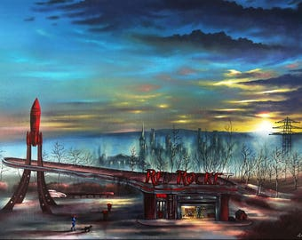 Fallout, Red Rocket, Art Print, Sunset, post-apocalyptic, Game painting, Wall Art, Home decor, Fine Art print A3