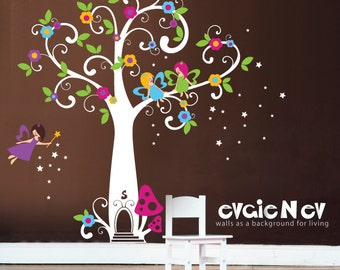 Wall Decals for Girls - Fairy Wall Decals, Tree with Flowers and Stars Wall Sticker - INSTANT SHIPPING - PLFT010R