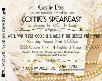 Gatsby Roaring 20's Speakeasy Invitation Twenties Wedding Shower 30th Birthday Invite