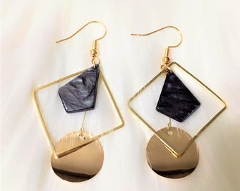 Gold Plated Stone Style Drop Earrings
